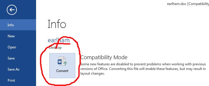 Compatibility Mode - Convert